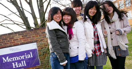 International students on campus at James Madison University
